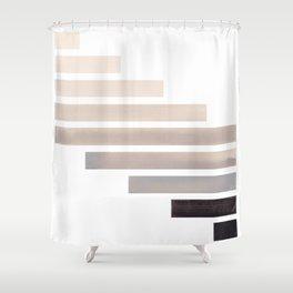 Grey Minimalist Mid Century Modern Inca Watercolor Stripes Staggered Symmetrical Pattern Shower Curtain