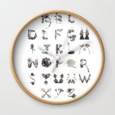 Floral Alphabet  Wall Clock