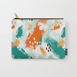 Grunge Brush Strokes in Orange + Teal Carry-All Pouch