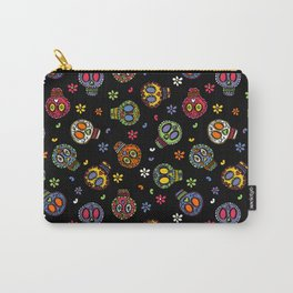 Sugar Skulls on Black - By Kara Peters Carry-All Pouch