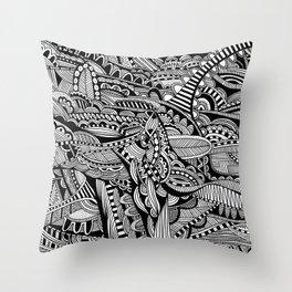 Black and White Doodle Art #1 Throw Pillow