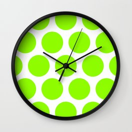 Large Polka Dots: Lime Green Wall Clock