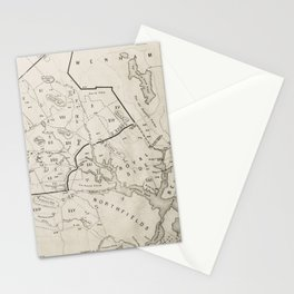 Vintage 1692 Map of Salem MA Village (1866) Stationery Cards