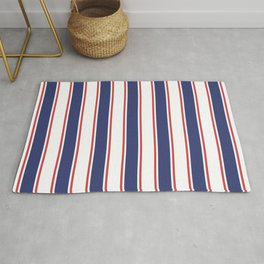 Nautical Red and Blue Stripes 2 Rug