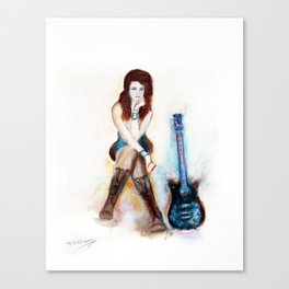 Girl with Blue Guitar Canvas Print