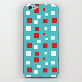 Red and White Squares on Blue iPhone Skin