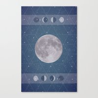 moon phase Canvas Prints featuring Geometric Moon Phase by Moonbeam