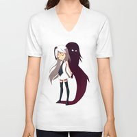 shadow V-neck T-shirts featuring Shadow by Freeminds