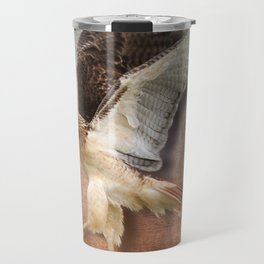 Red Tail Hawk in Vintage Light Travel Mug