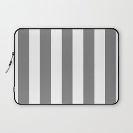 Trolley grey - solid color - white vertical lines pattern Laptop Sleeve