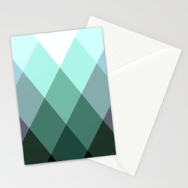 Teal Green Oxford Print Stationery Cards