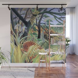 Tiger in a Tropical Storm (Surprised!) by Henri Rousseau 1891 // Jungle Rain Stormy Weather Scene Wall Mural