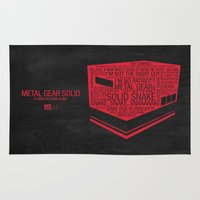 metal gear Area & Throw Rugs featuring Metal Gear Solid Typography by Kody Christian