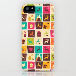 Christmas square pattern 02 iPhone Case