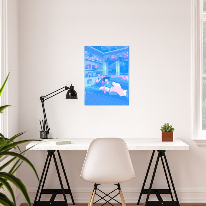 Afternoon Nap (Calming Dream Series) Futuristic Anime Interpretation Poster