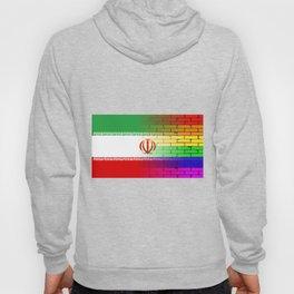 Gay Rainbow Wall Iranian Flag Hoody