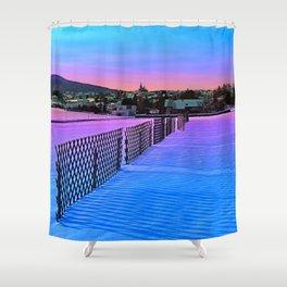 Fences on a winter sundown Shower Curtain