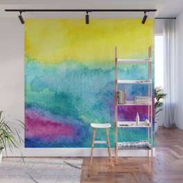 Modern neon yellow blue hand painted watercolor Wall Mural