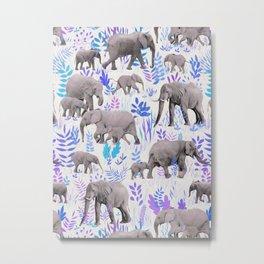 Sweet Elephants in Aqua, Purple, Cream and Grey Metal Print