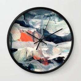 Eye of the Storm [2] - abstract mixed media piece in blues, white, and red Wall Clock