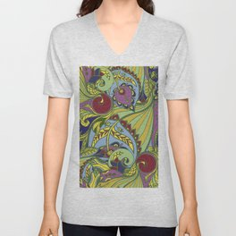 Drawn pattern in Indian style Unisex V-Neck
