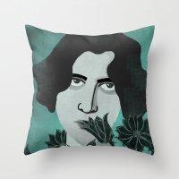 oscar wilde Throw Pillows featuring Oscar Wilde by Phantasmagoria