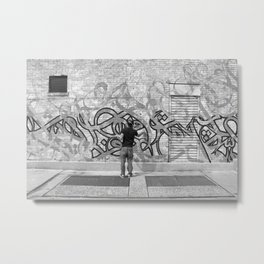 eL Seed & Jaye at Whitebox NYC, grafitti, Black and White Metal Print