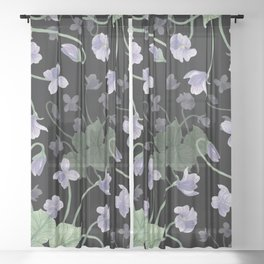 Nighttime Dancing Violets Sheer Curtain