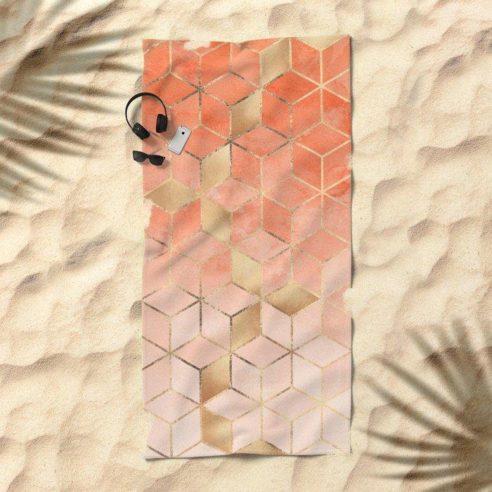 Soft Peach Gradient Cubes Beach Towel