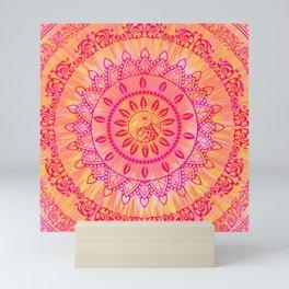 Sun Kissed Mandala Orange Pink Mini Art Print
