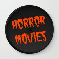movies Wall Clocks featuring Horror Movies by NoHo