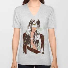 Sultry Disposition, Fashion Illustration Earth Tones Unisex V-Neck