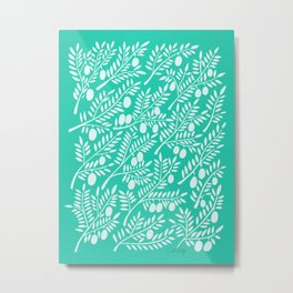 Turquoise Olive Branches Metal Print