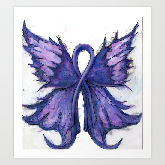Purple Cancer Ribbon With Butterfly Wings Art Print