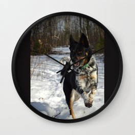 The pure happiness and exuberance of a dog.  Wall Clock