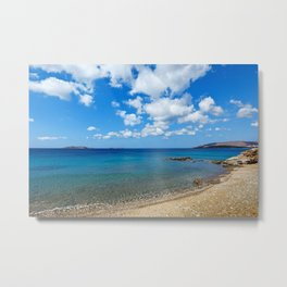 The wonderful beach at Agios Kyprianos in Andros, Greece Metal Print
