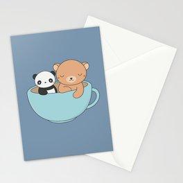 Kawaii Cute Brown Bear and Panda Stationery Cards