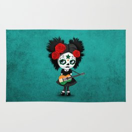 Day of the Dead Girl Playing Indian Flag Guitar Rug