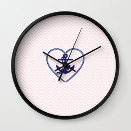 Blush pink chevron navy blue vintage nautical anchor Wall Clock