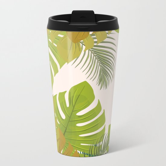 Tropical leaves Metal Travel Mug