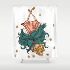 Girl and flowers Shower Curtain