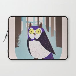 Scandinavian Owl in the forest Vintage poster Laptop Sleeve
