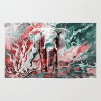 silent Area & Throw Rugs featuring Elephant's Silent Cries  by Eduardo Doreni