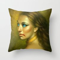 vampire Throw Pillows featuring Vampire by George Patsouras