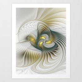 Noble And Golden, Abstract Modern Fractal Art Art Print