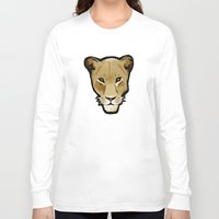 lesbian Long Sleeve T-shirts featuring The Lesbian & the Lioness by BinaryGod.com