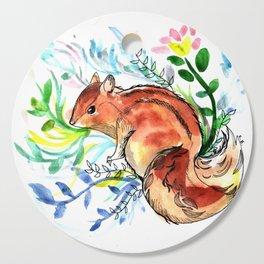 Cute Korea squirrel in sping flowers Cutting Board