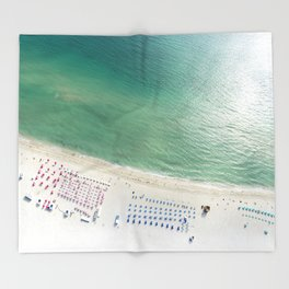Helicopter View of Miami Beach Throw Blanket