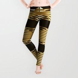 Gold Black Geometric Design Leggings