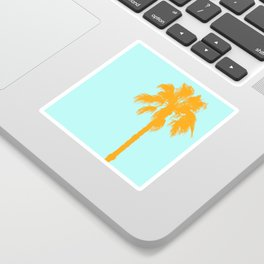 Orange palm trees silhouettes on blue Sticker